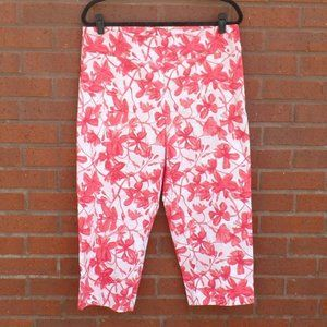 New Directions Red Pink Floral Pull On Capris 14